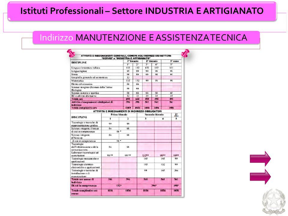 Istituti Professionali – Settore INDUSTRIA E ARTIGIANATO Indirizzo MANUTENZIONE E ASSISTENZA TECNICA