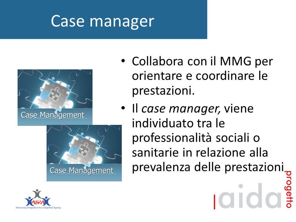 Case manager Collabora con il MMG per orientare e coordinare le prestazioni.