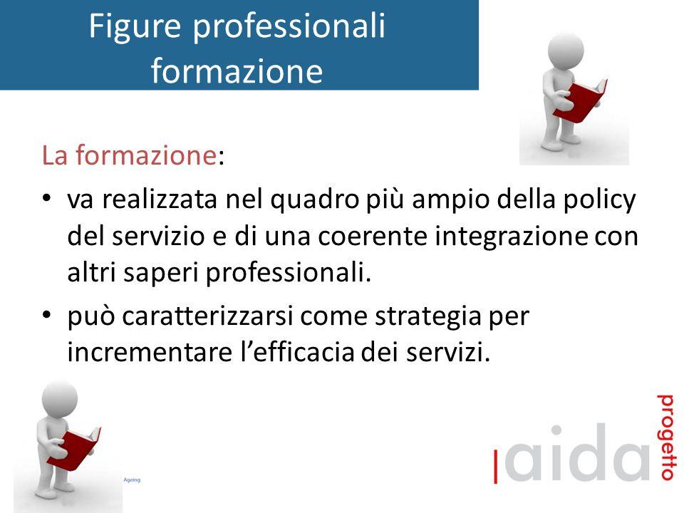 Figure professionali formazione La formazione: va realizzata nel quadro più ampio della policy del servizio e di una coerente integrazione con altri saperi professionali.