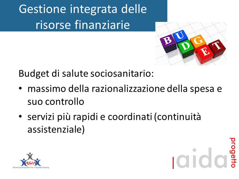 Gestione integrata delle risorse finanziarie Budget di salute sociosanitario: massimo della razionalizzazione della spesa e suo controllo servizi più rapidi e coordinati (continuità assistenziale)