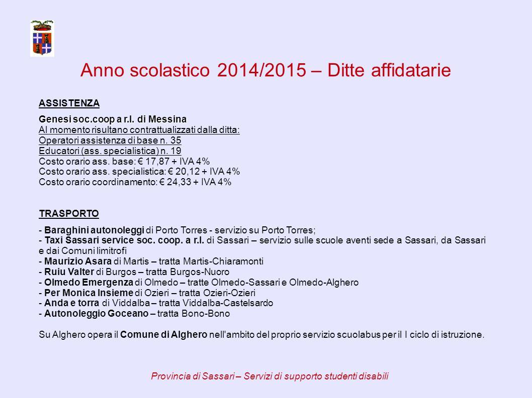 Anno scolastico 2014/2015 – Ditte affidatarie Provincia di Sassari – Servizi di supporto studenti disabili ASSISTENZA Genesi soc.coop a r.l.