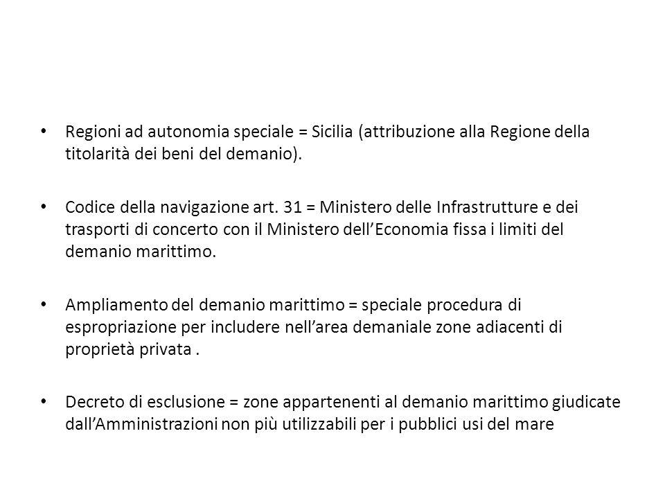Regioni ad autonomia speciale = Sicilia (attribuzione alla Regione della titolarità dei beni del demanio).
