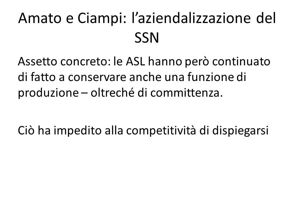 Amato e Ciampi: l'aziendalizzazione del SSN Assetto concreto: le ASL hanno però continuato di fatto a conservare anche una funzione di produzione – ol