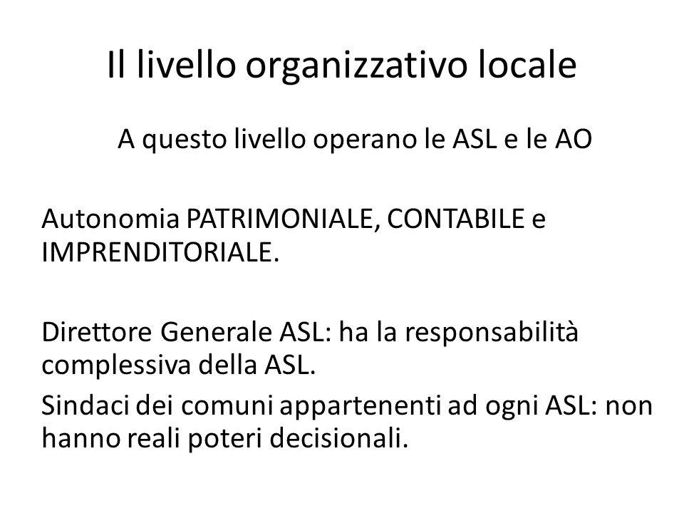 Il livello organizzativo locale A questo livello operano le ASL e le AO Autonomia PATRIMONIALE, CONTABILE e IMPRENDITORIALE. Direttore Generale ASL: h