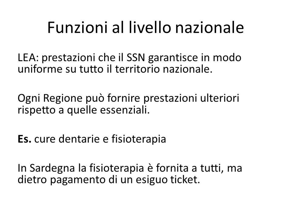 Funzioni al livello nazionale LEA: prestazioni che il SSN garantisce in modo uniforme su tutto il territorio nazionale. Ogni Regione può fornire prest