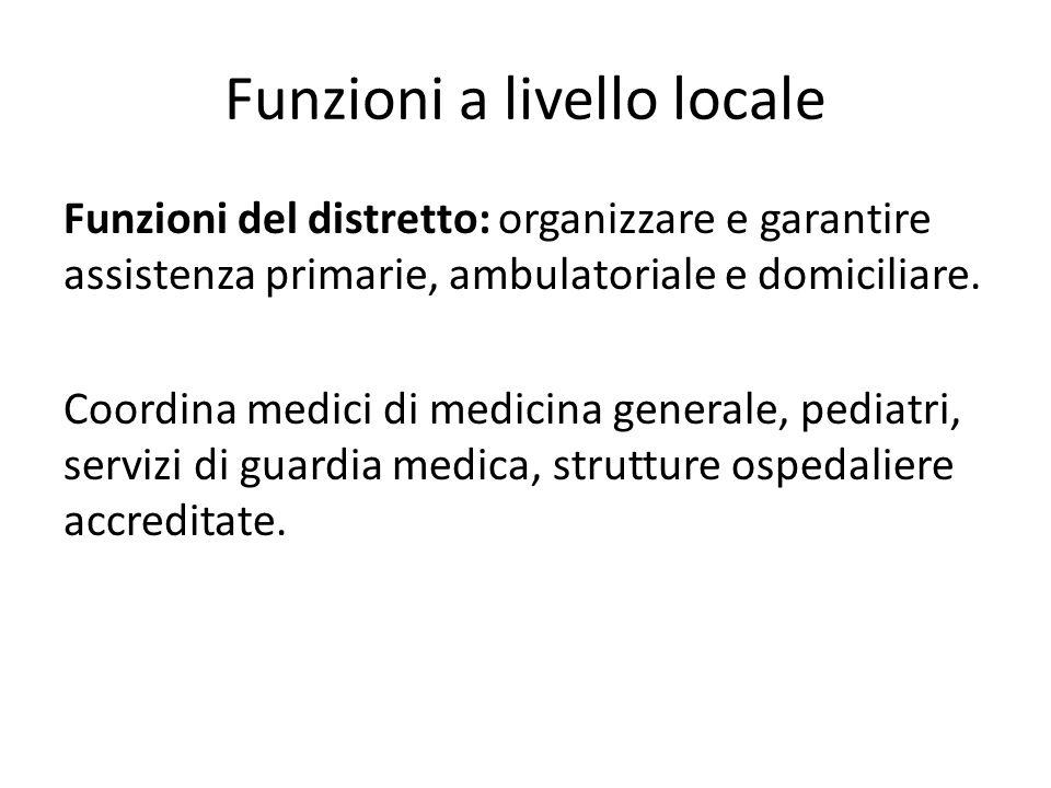Funzioni a livello locale Funzioni del distretto: organizzare e garantire assistenza primarie, ambulatoriale e domiciliare. Coordina medici di medicin