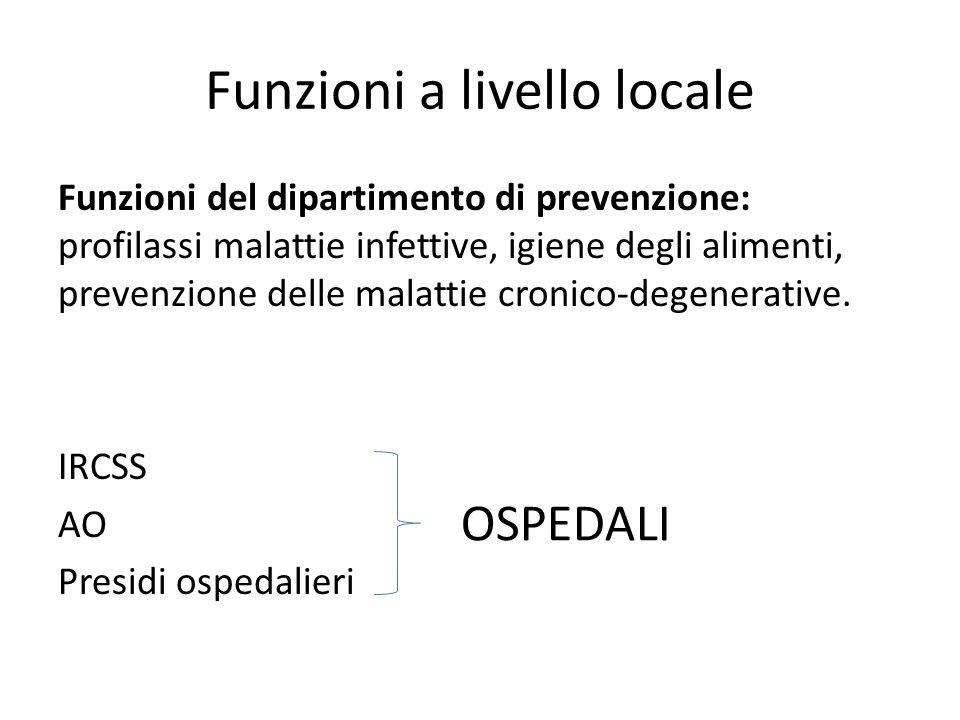 Funzioni a livello locale Funzioni del dipartimento di prevenzione: profilassi malattie infettive, igiene degli alimenti, prevenzione delle malattie c