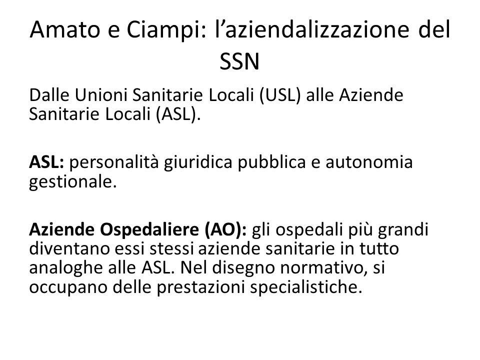 Amato e Ciampi: l'aziendalizzazione del SSN Dalle Unioni Sanitarie Locali (USL) alle Aziende Sanitarie Locali (ASL). ASL: personalità giuridica pubbli