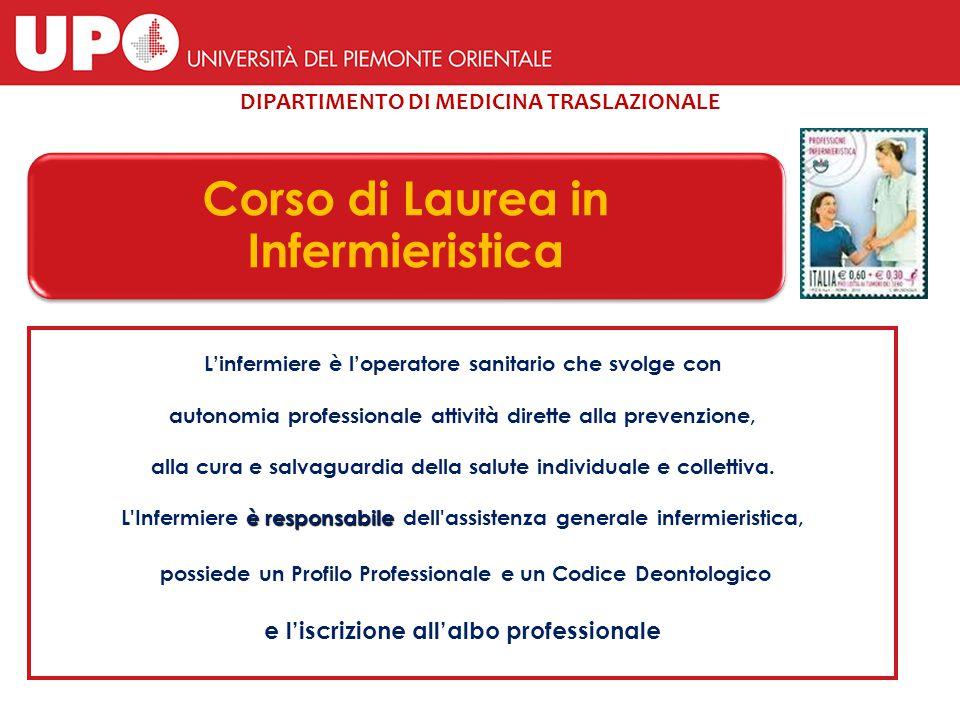 DIPARTIMENTO DI MEDICINA TRASLAZIONALE Corso di Laurea in Infermieristica L'infermiere è l'operatore sanitario che svolge con autonomia professionale