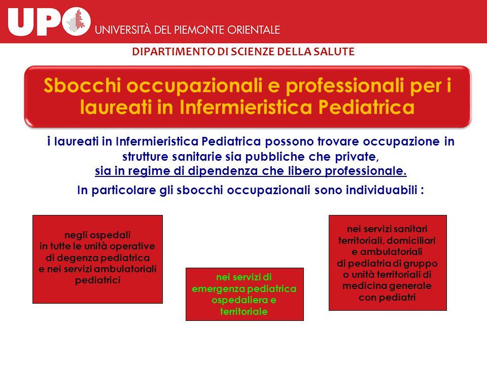 DIPARTIMENTO DI SCIENZE DELLA SALUTE Sbocchi occupazionali e professionali per i laureati in Infermieristica Pediatrica i laureati in Infermieristica