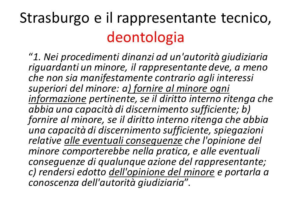 """Strasburgo e il rappresentante tecnico, deontologia """"1. Nei procedimenti dinanzi ad un'autorità giudiziaria riguardanti un minore, il rappresentante d"""