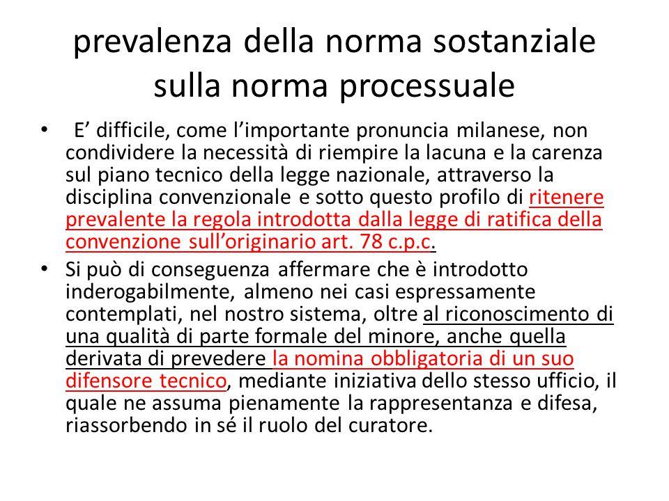 prevalenza della norma sostanziale sulla norma processuale E' difficile, come l'importante pronuncia milanese, non condividere la necessità di riempir