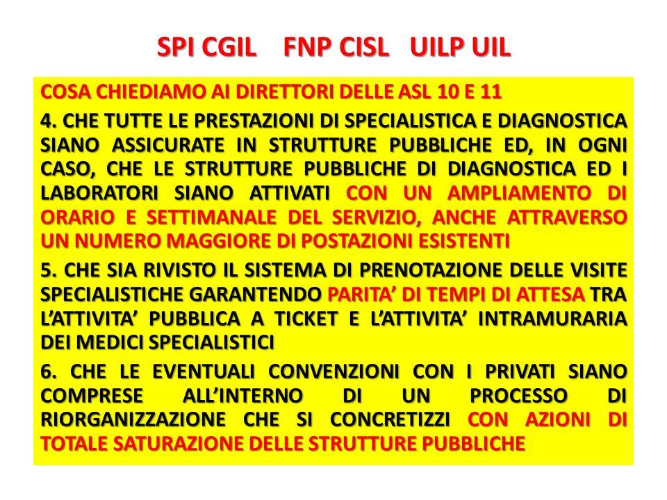 SPI CGIL FNP CISL UILP UIL COSA CHIEDIAMO AI DIRETTORI DELLE ASL 10 E 11 4.