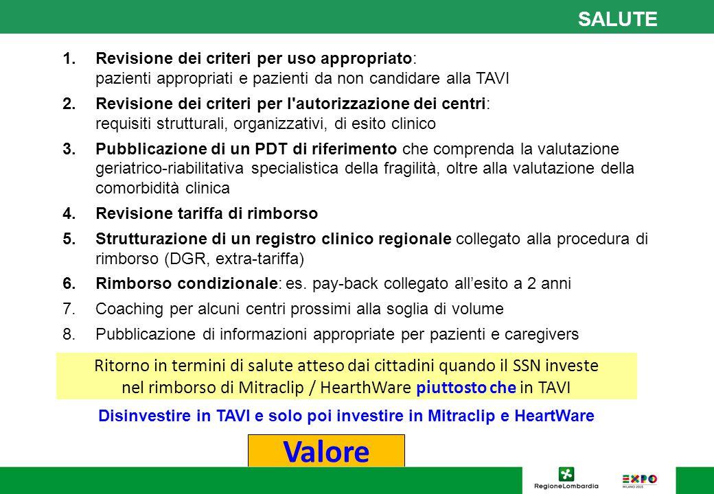 1.Revisione dei criteri per uso appropriato: pazienti appropriati e pazienti da non candidare alla TAVI 2.Revisione dei criteri per l'autorizzazione d