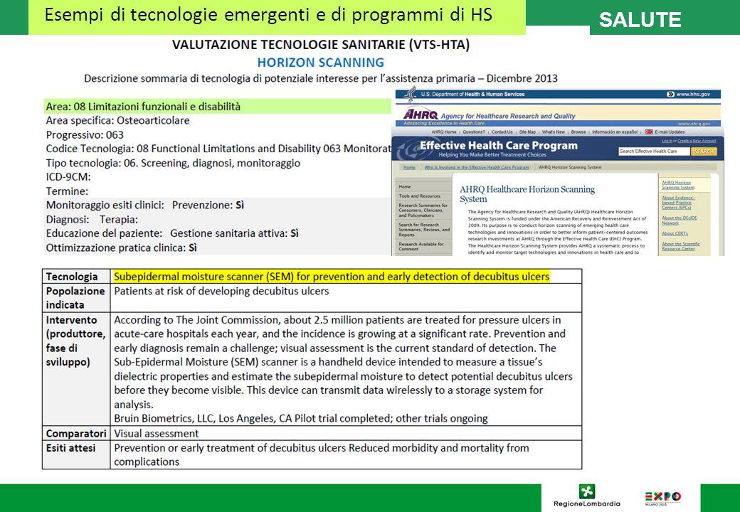 SALUTE Esempi di tecnologie emergenti e di programmi di HS
