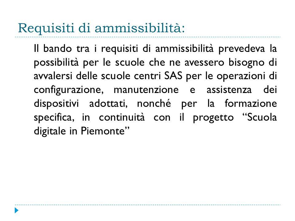 Requisiti di ammissibilità: Il bando tra i requisiti di ammissibilità prevedeva la possibilità per le scuole che ne avessero bisogno di avvalersi delle scuole centri SAS per le operazioni di configurazione, manutenzione e assistenza dei dispositivi adottati, nonché per la formazione specifica, in continuità con il progetto Scuola digitale in Piemonte