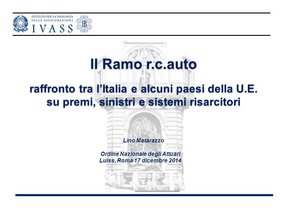 Lino Matarazzo Ordine Nazionale degli Attuari Luiss, Roma 17 dicembre 2014 Il Ramo r.c.auto raffronto tra l'Italia e alcuni paesi della U.E. su premi,