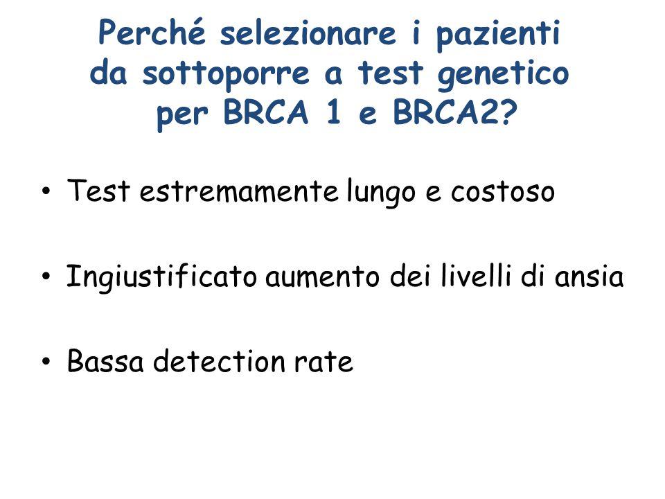 Perché selezionare i pazienti da sottoporre a test genetico per BRCA 1 e BRCA2? Test estremamente lungo e costoso Ingiustificato aumento dei livelli d