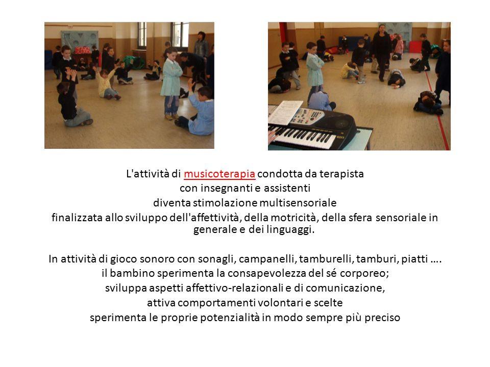 L'attività di musicoterapia condotta da terapista con insegnanti e assistenti diventa stimolazione multisensoriale finalizzata allo sviluppo dell'affe