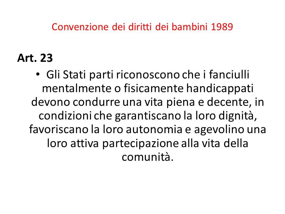 Convenzione dei diritti dei bambini 1989 Art.