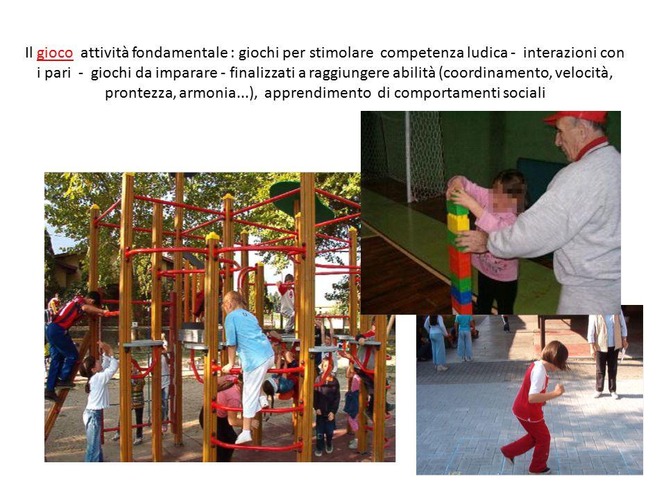 Il gioco attività fondamentale : giochi per stimolare competenza ludica - interazioni con i pari - giochi da imparare - finalizzati a raggiungere abilità (coordinamento, velocità, prontezza, armonia...), apprendimento di comportamenti sociali