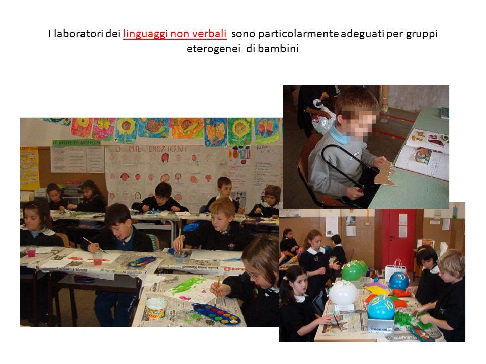 I laboratori dei linguaggi non verbali sono particolarmente adeguati per gruppi eterogenei di bambini