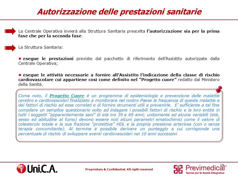 Proprietary & Confidential. All right reserved 10 Autorizzazione delle prestazioni sanitarie La Centrale Operativa invierà alla Struttura Sanitaria pr