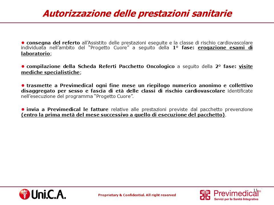 Proprietary & Confidential. All right reserved 11 Autorizzazione delle prestazioni sanitarie ● consegna del referto all'Assistito delle prestazioni es