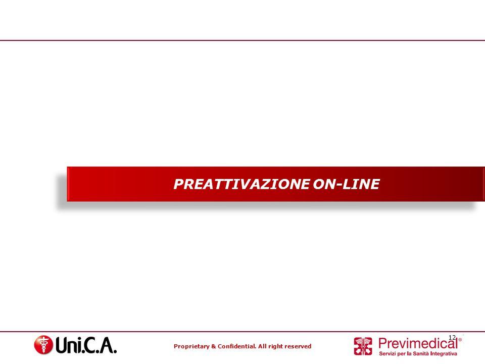 Proprietary & Confidential. All right reserved 12 Specialisti nella gestione dei Fondi Sanitari PREATTIVAZIONE ON-LINE