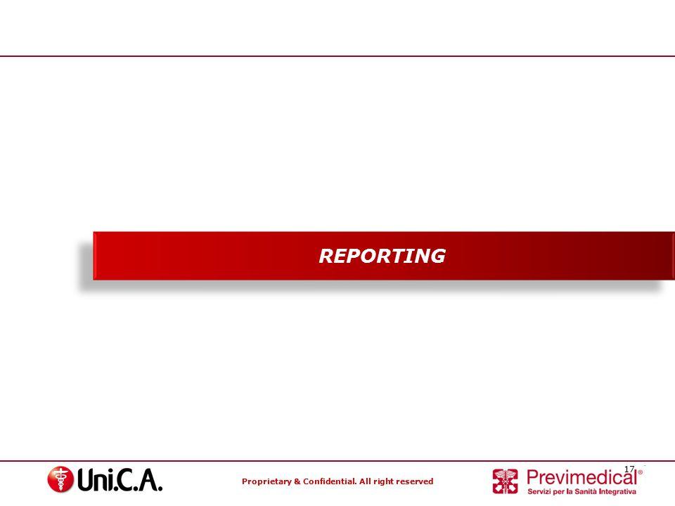 Proprietary & Confidential. All right reserved 17 Specialisti nella gestione dei Fondi Sanitari REPORTING