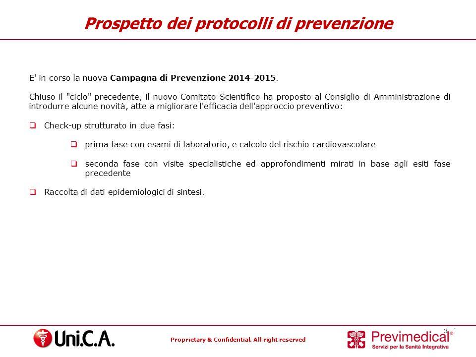 Proprietary & Confidential. All right reserved 3 Prospetto dei protocolli di prevenzione E' in corso la nuova Campagna di Prevenzione 2014-2015. Chius