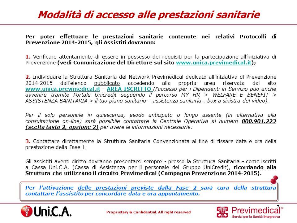 Proprietary & Confidential.All right reserved 8 Modalità di accesso alle prestazioni sanitarie 4.