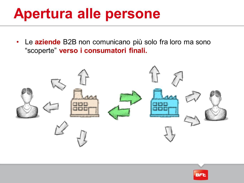 """Apertura alle persone Le aziende B2B non comunicano più solo fra loro ma sono """"scoperte"""" verso i consumatori finali."""