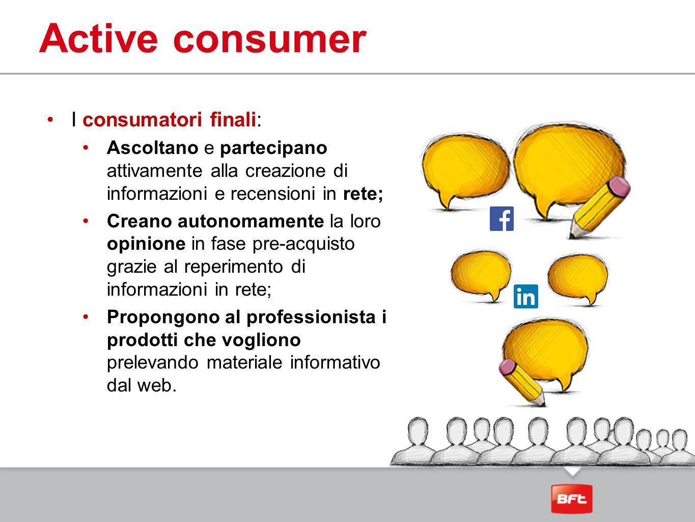 Active consumer I consumatori finali: Ascoltano e partecipano attivamente alla creazione di informazioni e recensioni in rete; Creano autonomamente la