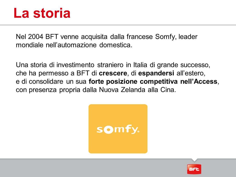 La storia Nel 2004 BFT venne acquisita dalla francese Somfy, leader mondiale nell'automazione domestica. Una storia di investimento straniero in Itali