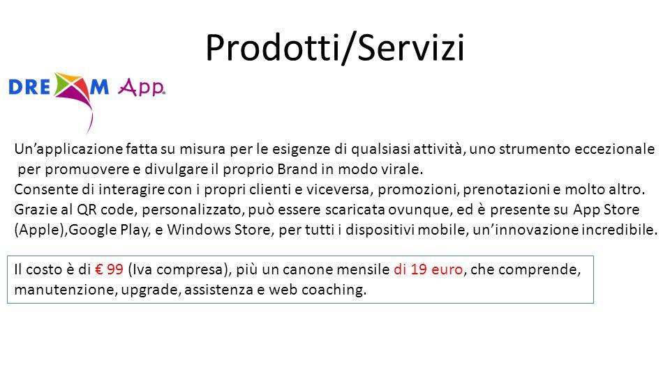 Prodotti/Servizi Un'applicazione fatta su misura per le esigenze di qualsiasi attività, uno strumento eccezionale per promuovere e divulgare il proprio Brand in modo virale.