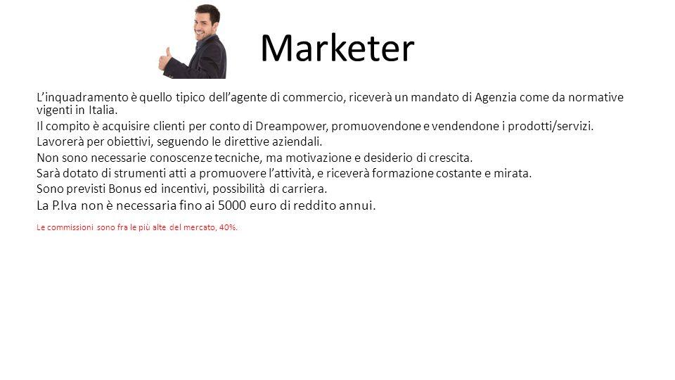 Marketer L'inquadramento è quello tipico dell'agente di commercio, riceverà un mandato di Agenzia come da normative vigenti in Italia.
