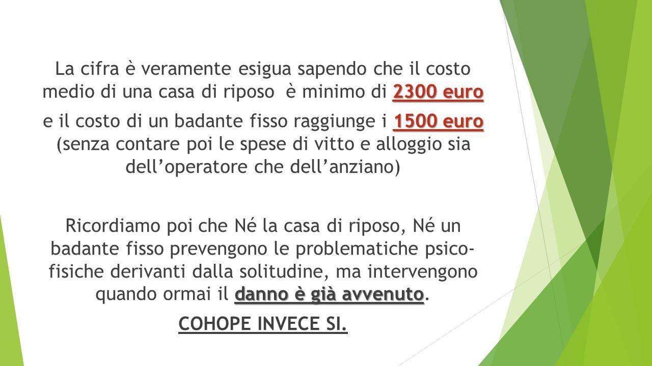 2300 euro La cifra è veramente esigua sapendo che il costo medio di una casa di riposo è minimo di 2300 euro 1500 euro e il costo di un badante fisso