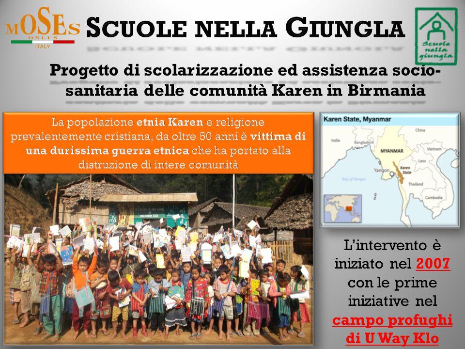 L'intervento è iniziato nel 2007 con le prime iniziative nel campo profughi di U Way Klo