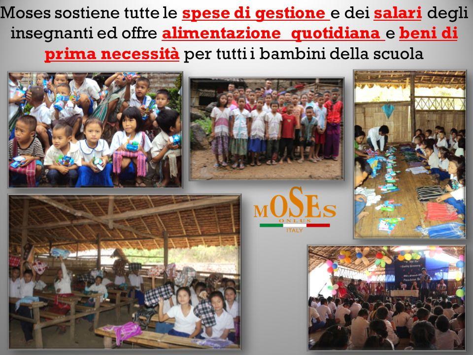 Moses sostiene tutte le spese di gestione e dei salari degli insegnanti ed offre alimentazione quotidiana e beni di prima necessità per tutti i bambini della scuola