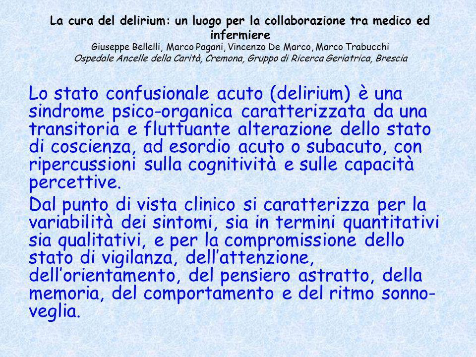 La cura del delirium: un luogo per la collaborazione tra medico ed infermiere Giuseppe Bellelli, Marco Pagani, Vincenzo De Marco, Marco Trabucchi Ospe