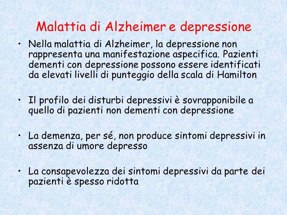 Malattia di Alzheimer e depressione Nella malattia di Alzheimer, la depressione non rappresenta una manifestazione aspecifica. Pazienti dementi con de