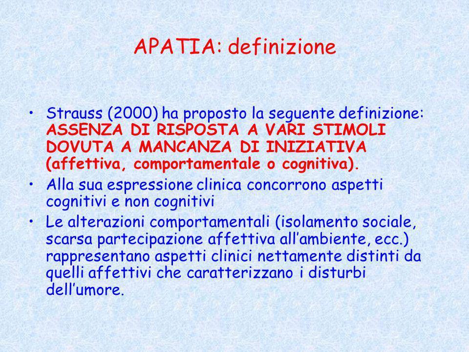 APATIA: definizione Strauss (2000) ha proposto la seguente definizione: ASSENZA DI RISPOSTA A VARI STIMOLI DOVUTA A MANCANZA DI INIZIATIVA (affettiva, comportamentale o cognitiva).