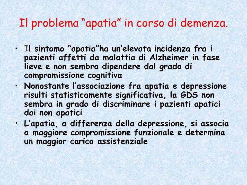 """Il problema """"apatia"""" in corso di demenza. Il sintomo """"apatia""""ha un'elevata incidenza fra i pazienti affetti da malattia di Alzheimer in fase lieve e n"""