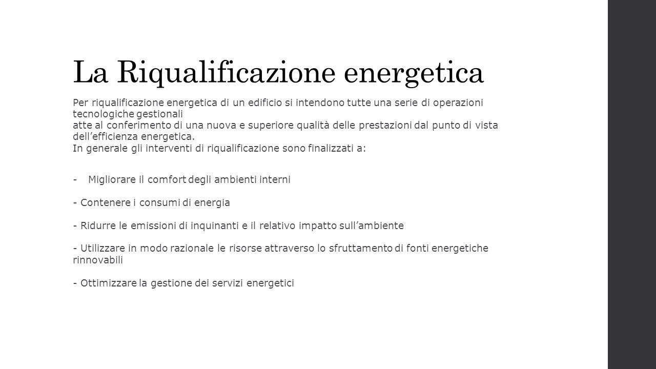 La Riqualificazione energetica Per riqualificazione energetica di un edificio si intendono tutte una serie di operazioni tecnologiche gestionali atte