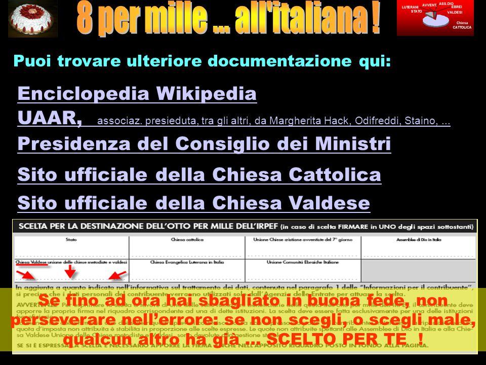 Puoi trovare ulteriore documentazione qui: Enciclopedia Wikipedia UAAR, associaz.