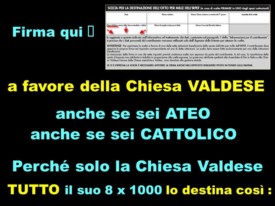 Firma qui  a favore della Chiesa VALDESE anche se sei ATEO anche se sei CATTOLICO Perché solo la Chiesa Valdese TUTTO il suo 8 x 1000 lo destina così :.
