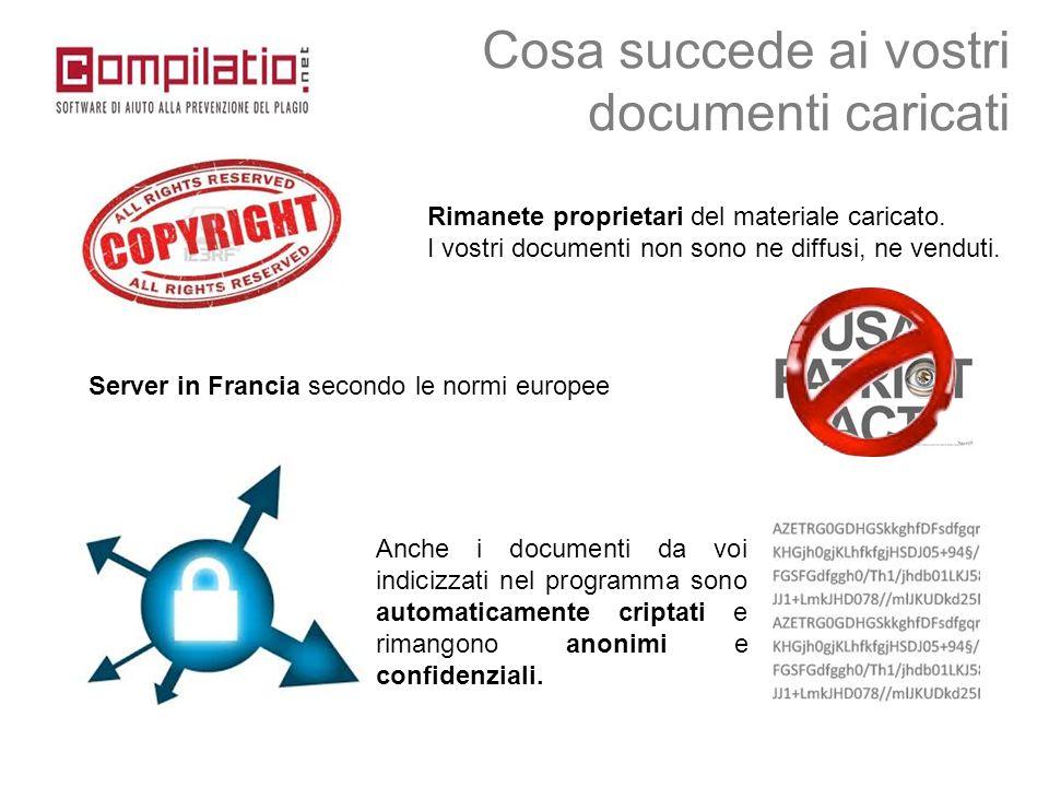 Anche i documenti da voi indicizzati nel programma sono automaticamente criptati e rimangono anonimi e confidenziali. Cosa succede ai vostri documenti