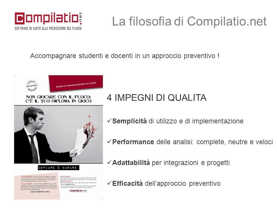 4 IMPEGNI DI QUALITA Semplicità di utilizzo e di implementazione Performance delle analisi: complete, neutre e veloci Adattabilità per integrazioni e