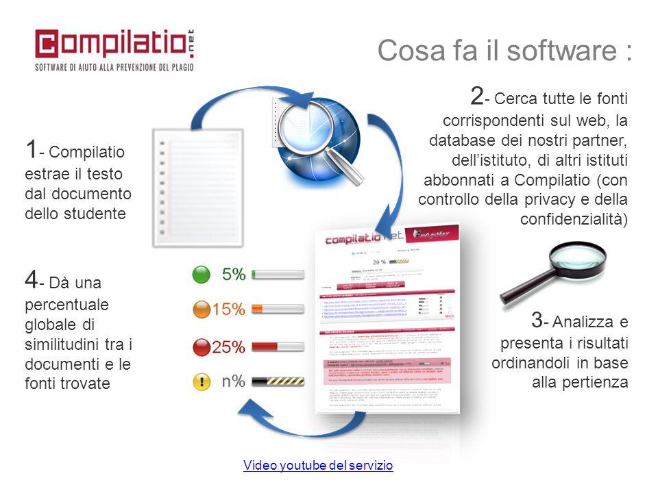 1 - Compilatio estrae il testo dal documento dello studente 2 - Cerca tutte le fonti corrispondenti sul web, la database dei nostri partner, dell'isti